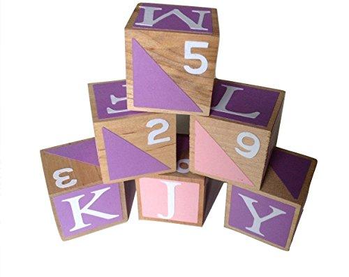 Pink and Purple Girls Wooden Alphabet Baby BlocksToddler Toy Blocks Learning Blocks Wood Block for Kids