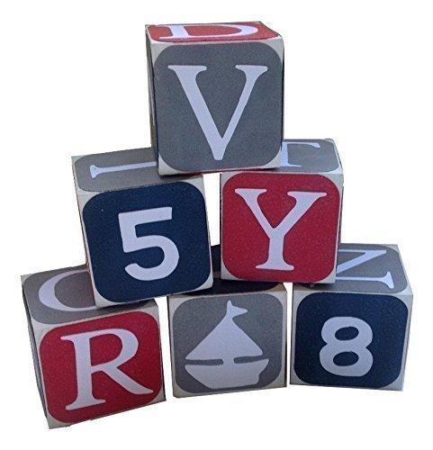 Wooden Alphabet Baby Blocks Navy with white edges Red and GrayToddler Toy Blocks Learning Blocks Wood Block for Kids