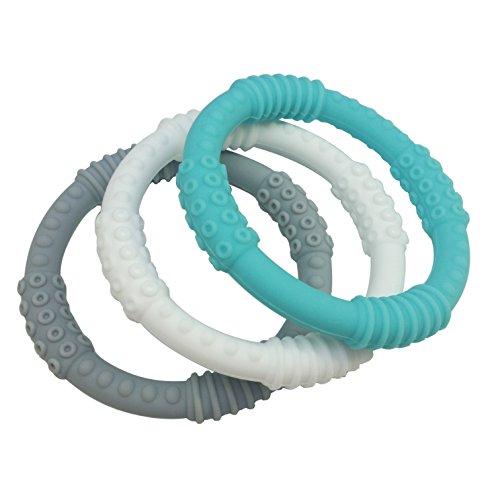 Teething Ring 3 Pack - mooi baby - Baby Teething Rings - UNISEX Baby Teether - 100 Silicone Infant Teether - No BPA - Non-Toxic - Soothing Gums - Teether Bracelet - Sensory Rings - Baby Teether Rings