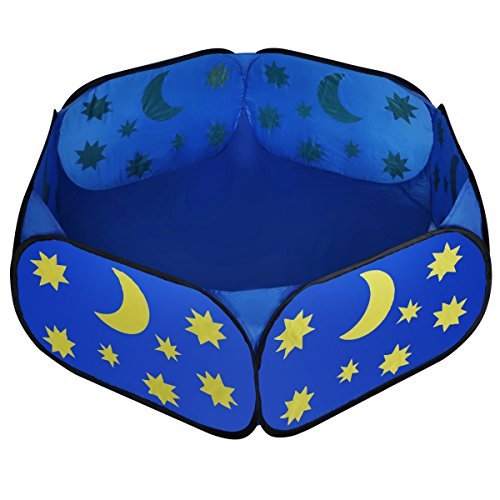 Eggsnow Kids Ball Pit Ball Pool for Baby Hexagon Blue Star and Moon Play Pit with Zippered Storage Bag Ideal for ToddlersPetsIndoor and Outdoor42 inch