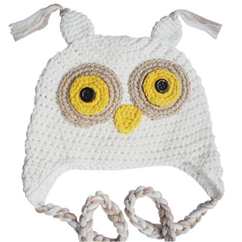 Baby Girl Boy Crochet Winter Hat Kids Handmade Owl Cap White