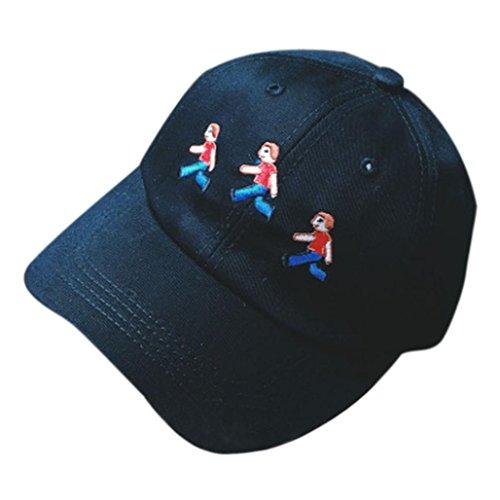 Iuhan Boy Girl Embroidery Cotton Adjustable Baseball Cap Casual Hip Hop hat Black
