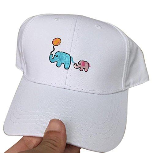 IuhanBoy Girl Embroidery Cotton Adjustable Baseball Cap Casual Hip Hop hat White