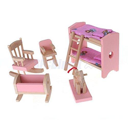 Sangdo Kids Pretend Role Play Wooden Toy Dollhouse Nursery Room Miniature Furniture Set