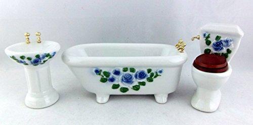 Town Square Miniatures Dolls House Miniature Furniture Set Blue Flower Porcelain Bathroom Suite