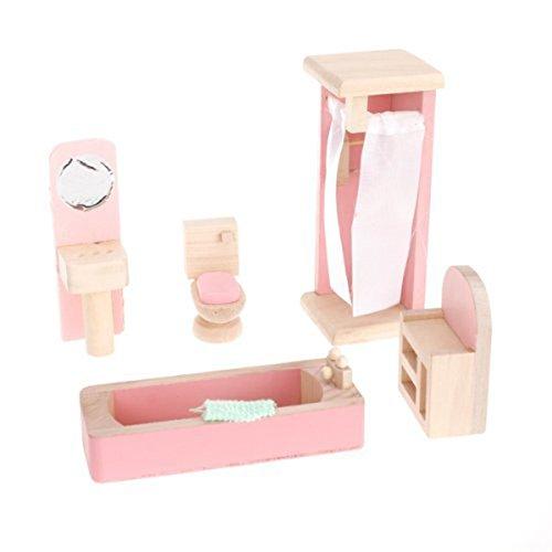 UEETEK DIY Wooden Miniature Furniture Doll House Set Kids Toy for Bathroom Decor