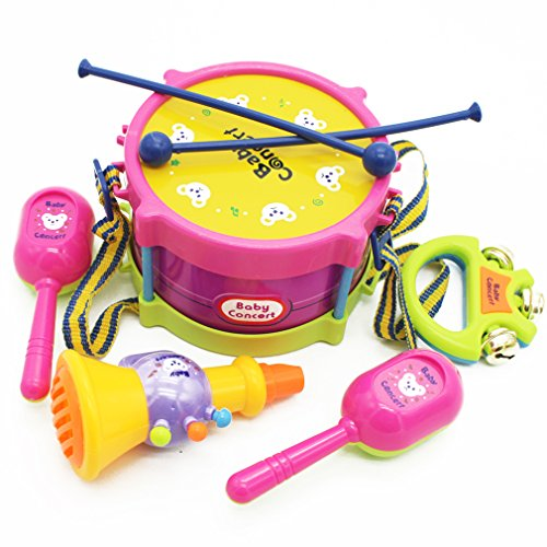 MICHLEY 5pcsset Simulation Tambourine for Kids Pretend Play Toys ABS Material