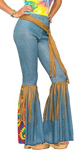 Forum Novelties Womens Hippie Costume Bell Bottoms BlueBrown MediumLarge