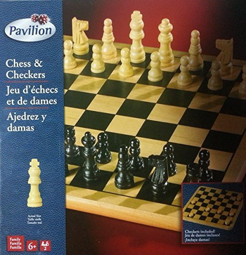 Chess Checkers solid wood board game set