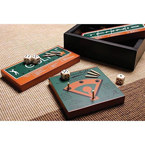 6 Classic American Sports Wood Board Peg Game - Football Basketball Baseball Golf Bowling Tennis - 7 Inch Travel Set