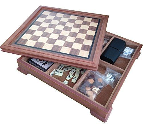14 Deluxe 5 In 1 Wood Chess Checker Backgammon Board Game Set Storage Box 1203