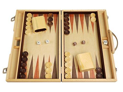 Wood Backgammon Board Game Set - 15 Beechwood Blue