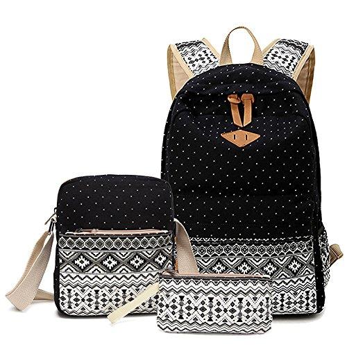 Alando Canvas Dot Backpack Cute Lightweight Teen Girls Backpacks School Shoulder Bags Black