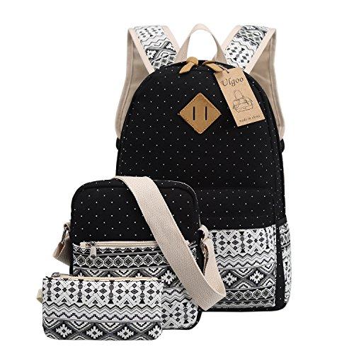 Ulgoo School Backpacks Canvas Teen Girls Backpacks Casual Shoulder bags Black