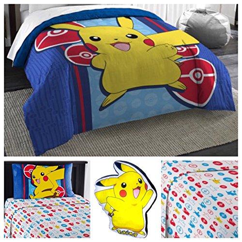 Pokemon Complete 5 Piece Microfiber Bedding Comforter Set - Twin