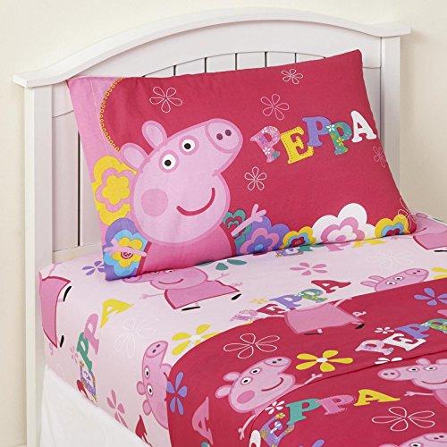 Twin Sheet Sets For Girls 3 Piece Kids Peppa Pig Microfiber Bedding Set Flat Sheet Fitted Sheet Standard Pillowcase