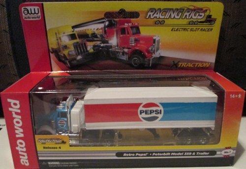 SC26448-1 Auto World Racing Rigs Retro Pepsi Peterbilt Model 359 Trailer Electric Slot Racer by Auto World