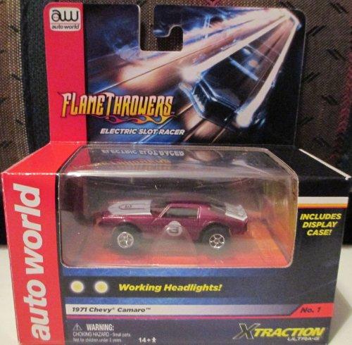SC26748-1 Auto World Flame Throwers Fuchia 1971 Chevy Camaro Electric Slot Racer