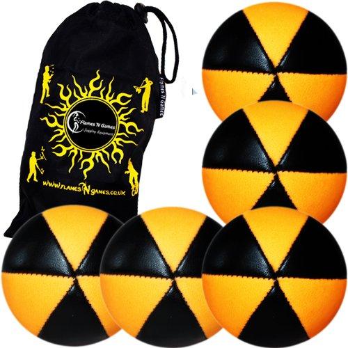 Flames N Games ASTRIX UV Thud Juggling Balls set of 5 BLACKORANGE Pro 6 Panel Leather Juggling Ball Set Travel Bag