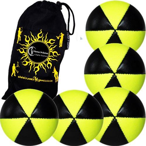 Flames N Games ASTRIX UV Thud Juggling Balls set of 5 BLACKYELLOW Pro 6 Panel Leather Juggling Ball Set Travel Bag