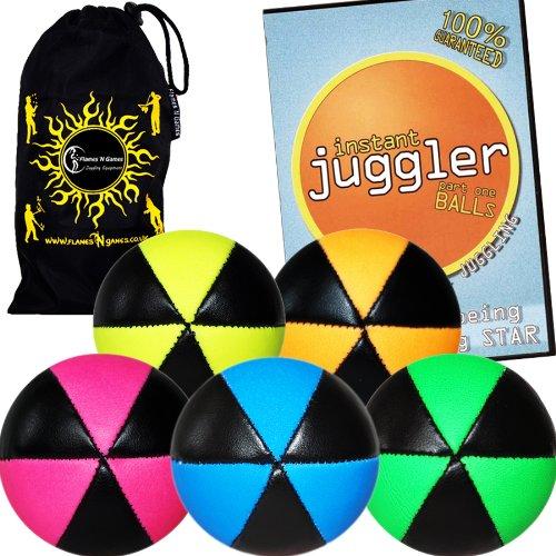 Flames N Games ASTRIX UV Thud Juggling Balls set of 5 choice of colors 6 Panel Leather Juggling Ball Set  INSTANT Juggler DVD of Tricks Travel Bag BlackYellow