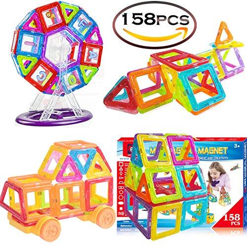 SASRL Magnetic Toys Building Tiles Blocks Stack Set - 158 pcs