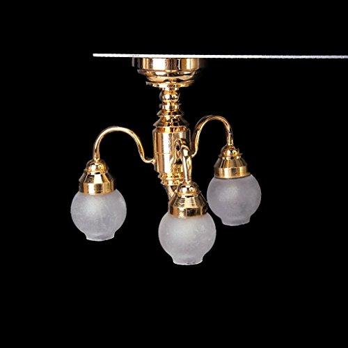 Chandelier Model - TOOGOOR112 Dollhouse Brass Chandelier 3 arm Lamp LED Ceiling Lamp Glass Shade
