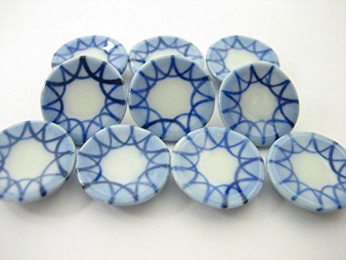 10x15mm Blue Rim Paint Plate Dish Handmade Dollhouse Miniatures Ceramic 13215