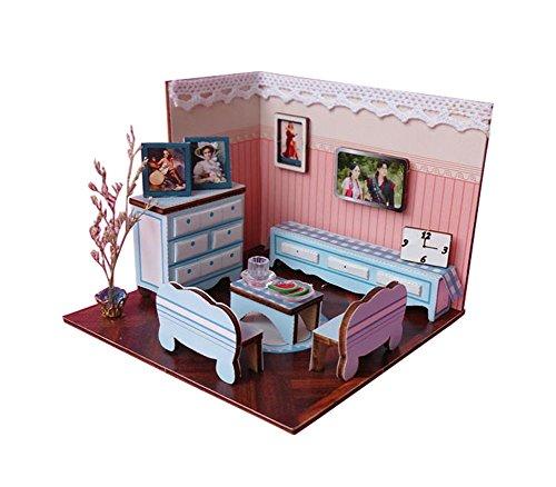 BESTLEE Wooden Handmade Dollhouse Miniature DIY Kit Living Room Model