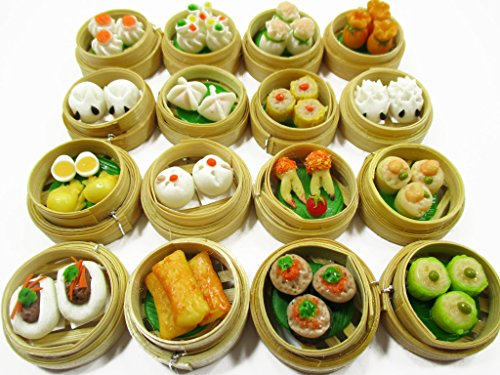 Set of 16 Dim Sum Chinese Cuisine Handmade Dollhouse Miniatures Food 13798