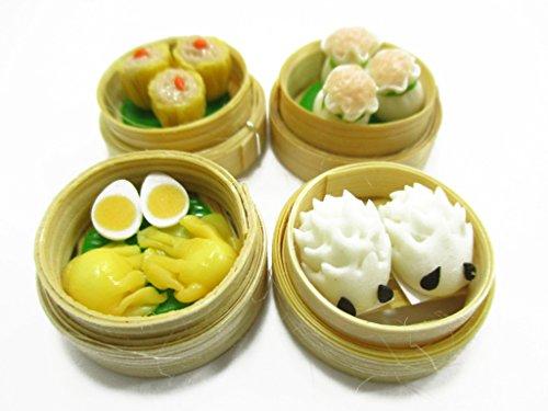 Set of 4 Dim Sum Chinese Cuisine Handmade Dollhouse Miniatures Food 13794