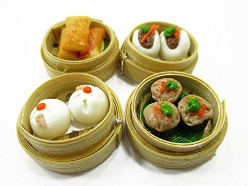 Set of 4 Dim Sum Chinese Cuisine Handmade Dollhouse Miniatures Food 13797