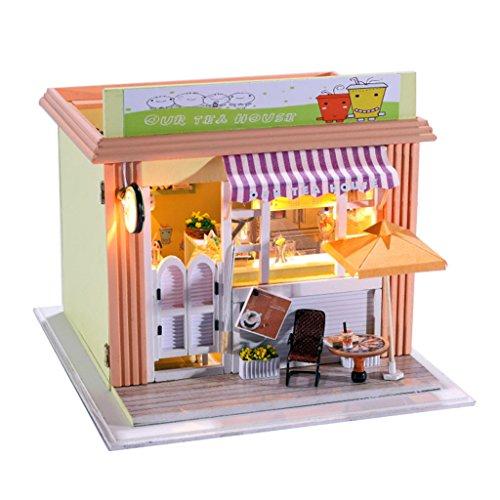 Wooden Handmade Dollhouse Miniature DIY Kit w light Accessories - Our Tea House