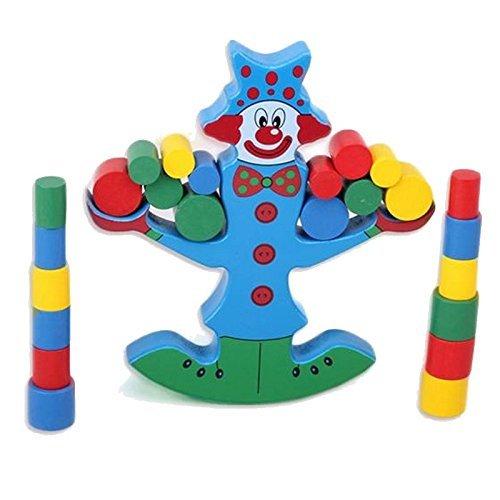 AUCH 1Pcs Wooden Wobbly Clown Balance BeamScaleBalancing Toy SetBuilding BlocksBricks Rainbow Color