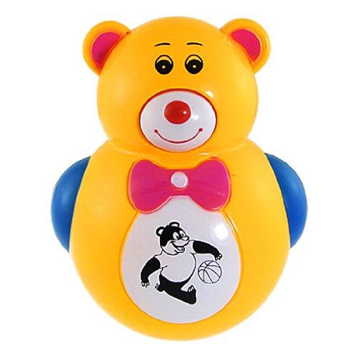 Rosallini Children Red Flashing Light Lamp Music Bear Tumbler Roly Poly Toy Yellow