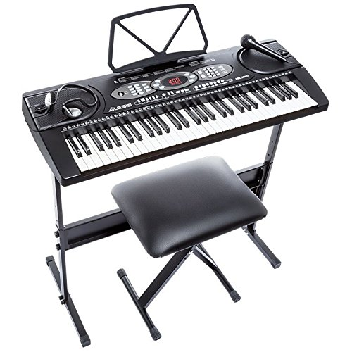 Alesis Melody 61 Beginner Bundle  61-Key Portable Keyboard with Stand Bench Headphones and Microphone