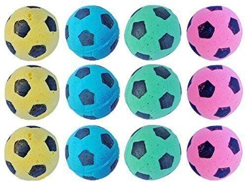 Foam Soccer Balls Pet Cat Fun Soft Sponge Toys Nontoxic Pack of 12 Variety Color