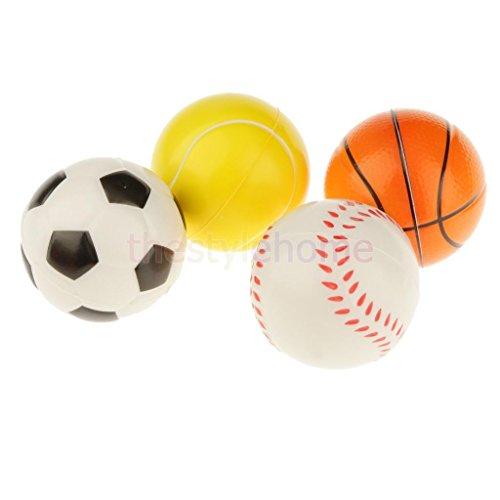 Sangdo Set of 12 Solid Basketball Football Baseball Tennis Ball Sponge Ball Pet Toy