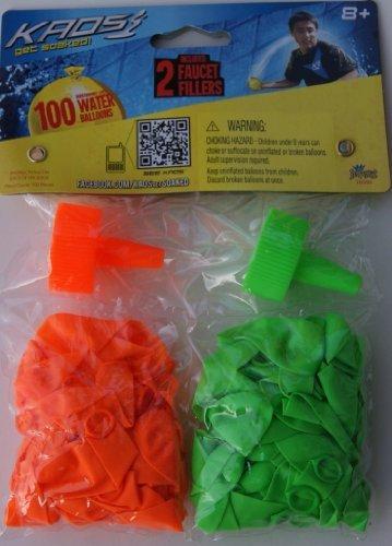 Kaos 100 Water Balloons Get Soaked w Bonus 2 Faucet Fillers Colors may vary