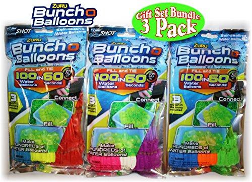 Zuru Bunch O Balloons Instant 100 Self-Sealing Water Balloons Complete Gift Set Bundle - 3 Pack 300 Balloons Total