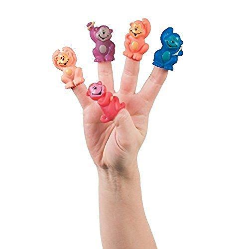 6 ~ Vinyl Neon Monkey Finger Puppets ~ New