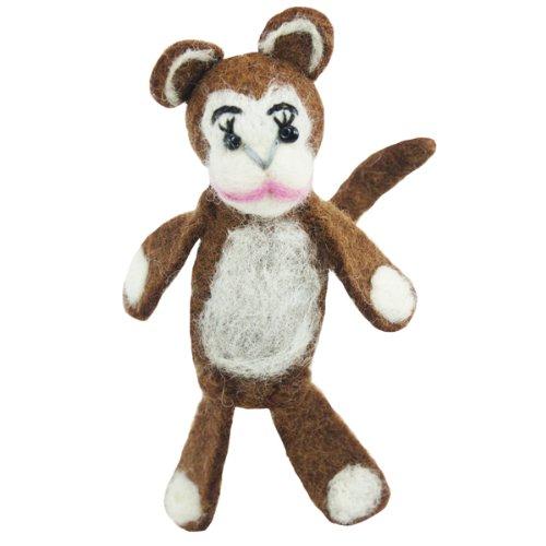 Fair Trade Finger Puppet Monkey Christmas Tree Ornament Dzi Wild Woolie