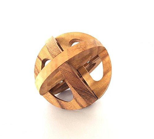 Handmade Interlocking Wooden Brain Teaser Galileo Globe Puzzle - Global Interlocking Puzzle for Adults