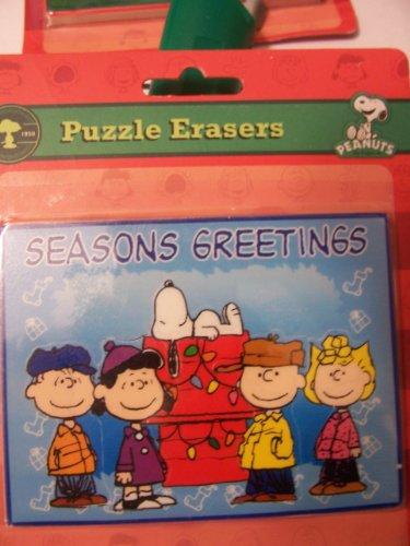 Peanuts Snoopy Puzzle Erasers ~ Seasons Greetings Peanuts Crew on Blue
