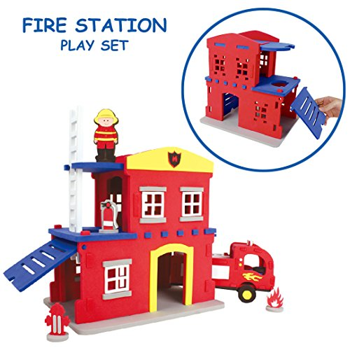 Foundation Foam Toys Fire Station 3-D Puzzle and Building Set  The Foam Cut-Outs Connect to Construct this Fire Station