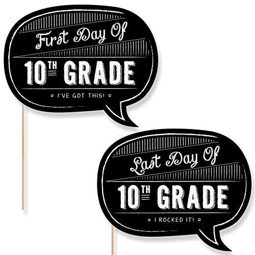 10th Grade - First Day Last Day of School Photo Props - 2 Talk Bubbles