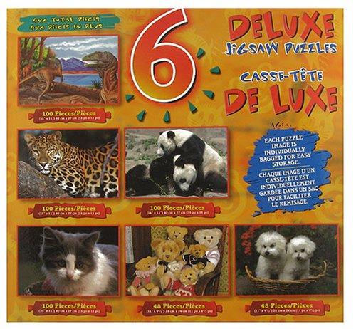 6 Deluxe Animals Jigsaw Puzzles - Pandas Teddy Bears Kitten Dinosaurs Puppies and Leopard