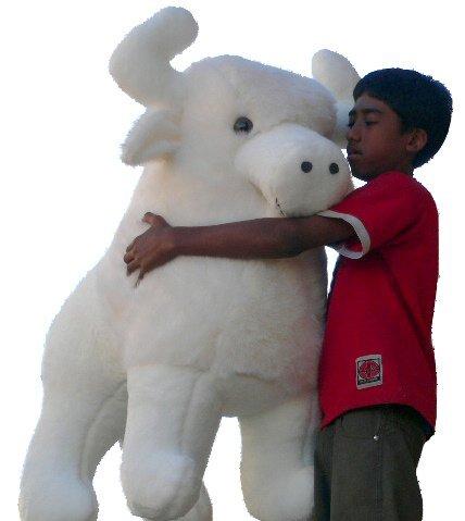 American Made Giant Stuffed White Buffalo 44 Inch Sacred Native American Indian Plush Animal Almost 4 Feet Wide and 3 Feet Tall Huge Stuffed Animal