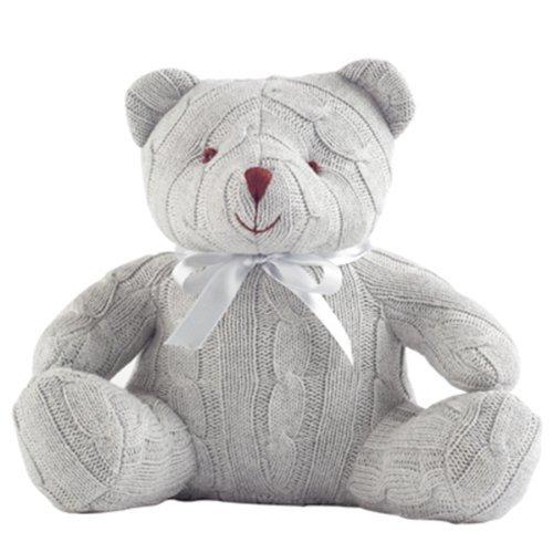 Elegant Baby Grey Cable Knit Teddy Bear