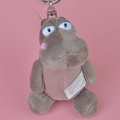 2 Pcs Grey Color Hippo Plush Keychain Keyholder Pendant